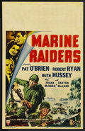 "Movie Posters:War, Marine Raiders (RKO, 1944). Window Card (14"" X 22""). ..."