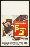 "Movie Posters:War, A Farewell to Arms (20th Century Fox, 1957). Window Card (14"" X22""). War. Starring Rock Hudson, Jennifer Jones, Vittorio De..."