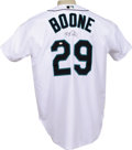 Baseball Collectibles:Hats, Bret Boone Game Worn and Signed Jersey. Part of a family rich intradition, Bret Boone made it to the majors as a solid sec...