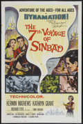 """Movie Posters:Fantasy, The 7th Voyage of Sinbad (Columbia, 1958). Autographed One Sheet (27"""" X 41""""). Fantasy. Starring Kerwin Mathews, Kathryn ..."""