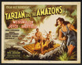 "Movie Posters:Adventure, Tarzan and the Amazons (RKO, 1945). Title Lobby Card (11"" X 14"").Adventure. Starring Johnny Weissmuller, Brenda Joyce, John..."