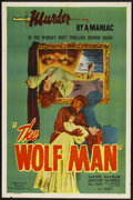 "Movie Posters:Horror, The Wolf Man (Realart, R-1948). One Sheet (27"" X 41""). Horror. Starring Lon Chaney, Jr., Claude Rains, Warren William, Ralph..."