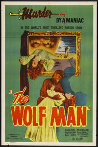 "The Wolf Man (Realart, R-1948). One Sheet (27"" X 41""). Horror. Starring Lon Chaney, Jr., Claude Rains, Warren..."