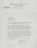 Baseball Collectibles:Others, 1937 George Weiss Signed Letter....