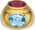 Estate Jewelry:Rings, Rubellite Tourmaline, Aquamarine, Gold Ring, Paloma Picasso,Tiffany & Co. . ...