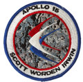 Transportation:Space Exploration, Apollo 15 Flown Embroidered Mission Insignia Patch Directly fromthe Personal Collection of Mission Commander Dave Scott....