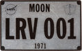 Transportation:Space Exploration, Apollo 15 Lunar Surface Carried Miniature LRV001 Lunar Rover License Plate Directly from the Personal Collection of Mission Co...