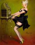 Pin-up and Glamour Art, GIL ELVGREN (American, 1914-1980). Jackpot, 1961. Oil oncanvas. 29 x 22.5 in.. Signed lower right. ...
