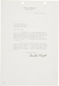"Autographs:Inventors, Orville Wright Typed Letter Signed. One page, 7.25"" x 10.5"", Dayton, Ohio, January 14, 1941, on Orville Wright's personal le... (Total: 2 Items)"