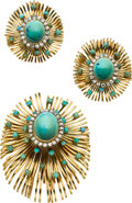 Estate Jewelry:Suites, Turquoise, Diamond, Gold Jewelry Suite, circa 1950. ... (Total: 3Items)