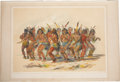 "Antiques:Decorative Americana, George Catlin: ""No. 18. The Bear Dance"" Colored Duotone Lithograph,Circa 1844...."