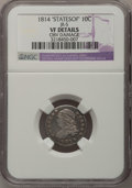 Bust Dimes: , 1814 10C STATESOF--Obv Damage--NGC Details. VF. JR-5. PCGSPopulation (0/6). (#4490). From The Dona...