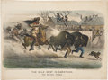 "Antiques:Black Americana, Currier & Ives: ""The Wild West in Darktown: The Buffalo Chase"",Circa 1893...."
