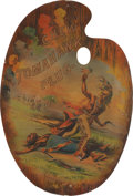 Advertising:Tobacciana, Tomahawk Plug Tobacco: Fantastic Chromolithograph Die CutAdvertising Sign....