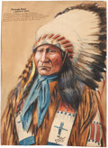"""Antiques:Decorative Americana, American Indian: Painting of the Ogallala Sioux Warrior """"American Horse""""...."""