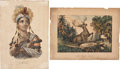 Antiques:Posters & Prints, Lot of Two Early Colored Lithographs....