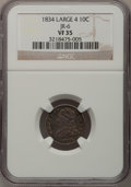 Bust Dimes: , 1834 10C Large 4 VF35 NGC. JR-6. PCGS Population (7/115). (#4526).From The Donald R. Frederick Col...