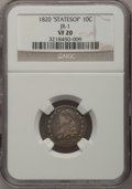 Bust Dimes: , 1820 10C STATESOF VF20 NGC. JR-1. PCGS Population (1/14). (#4494). From The Donald R. Frederick Col...