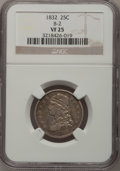 Bust Quarters: , 1832 25C VF25 NGC. B-2. NGC Census: (2/104). PCGS Population (7/139). Mintage: 320,000. Numismedia Wsl. Price for problem ...