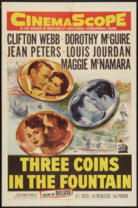 "Three Coins in the Fountain (20th Century Fox, 1954). One Sheet (27"" X 41""). Romance"