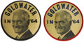 """Political:Pinback Buttons (1896-present), Barry Goldwater: Pair of Large 3½"""" Goldwater Portrait Variation Pinbacks.... (Total: 2 Items)"""