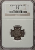 Bust Dimes: , 1830 10C Medium 10C Good 4 NGC. JR-1. NGC Census: (5/165). PCGSPopulation (1/193). Mintage: 510,000. Numismedia Wsl. Pric...