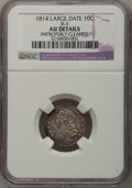 Bust Dimes: , 1814 10C Large Date--Improperly Cleaned--NGC Details. AU. JR-3. NGCCensus: (4/134). PCGS Population (4/98). Mintage: 421,...