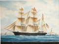 "Antiques:Decorative Americana, Painting: ""Clipper Bark Rebecca Goddard, J. L, HurdMaster Mess to Tasiagi Goddard & Co. Owners, Bosto..."