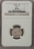 Bust Dimes: , 1832 10C XF45 NGC. JR-1. NGC Census: (5/223). PCGS Population(19/217). Mintage: 522,500. Numismedia Wsl. Price for proble...