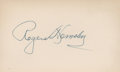 Baseball Collectibles:Others, Rogers Hornsby Signed Index Card. ...