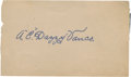 Baseball Collectibles:Others, Dazzy Vance Signed Cut Signature....