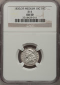 Bust Dimes: , 1830/29 10C Medium AU50 NGC. JR-4. NGC Census: (2/27). PCGSPopulation (5/12). Mintage: 510,000. Numismedia Wsl. Price for ...