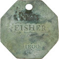 Antiques:Black Americana, 1800 Charleston FISHER Slave Hire Badge. Number 55....