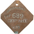 Antiques:Black Americana, 1815 Charleston SERVANT Slave Hire Badge. Number 689....