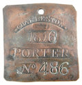 Antiques:Black Americana, 1816 Charleston PORTER Slave Hire Badge. Number 486....