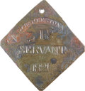 Antiques:Black Americana, 1821 Charleston SERVANT Slave Hire Badge. Number 318....