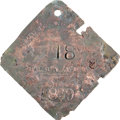 Antiques:Black Americana, 1839 Charleston SERVANT Slave Hire Badge. Number 18. ...