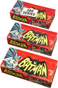 Non-Sport Cards:Unopened Packs/Display Boxes, 1966 Topps Batman Display Box Trio (3). ...
