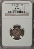 Bust Dimes: , 1834 10C Large 4 XF45 NGC. JR-5. PCGS Population (17/85). (#4526).From The Donald R. Frederick Col...