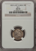 Bust Dimes: , 1833 10C Last 3 High AU55 NGC. JR-5. PCGS Population (4/15).(#4523). From The Donald R. Frederick ...