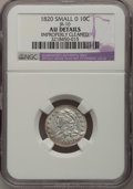 Bust Dimes: , 1820 10C Small 0--Improperly Cleaned--NGC Details. AU. JR-10. PCGSPopulation (0/7). Numismedia Wsl. P...