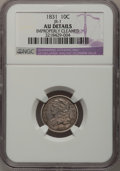 Bust Dimes: , 1831 10C --Improperly Cleaned--NGC Details. AU. JR-1. NGC Census:(5/226). PCGS Population (21/195). Mintage: 771,350. Numi...