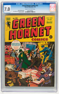 Green Hornet Comics #22 (Harvey, 1945) CGC FN/VF 7.0 Cream to off-white pages