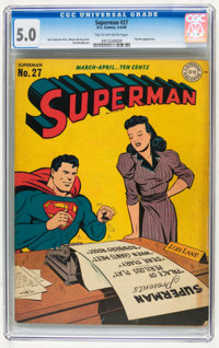 Superman #27 (DC, 1944) CGC VG/FN 5.0 Tan to off-white pages