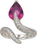 Estate Jewelry:Rings, Pink Tourmaline, Diamond, White Gold Ring, Laura Munder. ...