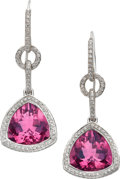 Estate Jewelry:Earrings, Pink Tourmaline, Diamond, White Gold Earrings, Laura Munder. ...(Total: 2 Items)