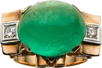 Emerald, Diamond, Gold Ring