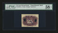 Fractional Currency:Second Issue, Milton 2E25R.2a 25¢ Second Issue Experimental Back PMG Choice About Unc 58 EPQ.. ...