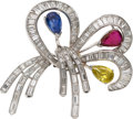 Estate Jewelry:Brooches - Pins, Colored Diamond, Diamond, Ruby, Sapphire, Platinum Brooch. ...