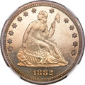 Proof Seated Quarters, 1882 Seated Quarter PR64 Cameo NGC....